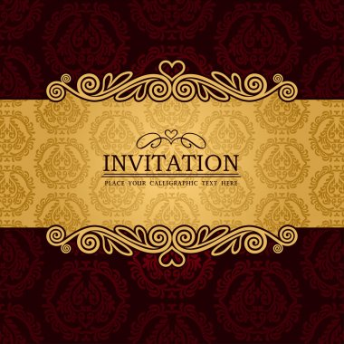 Abstract background with antique, vintage frame and banner, red damask wallpaper with ornamental, gold invitation card, baroque style label, fashion pattern, graphic ornaments for decoration, design.