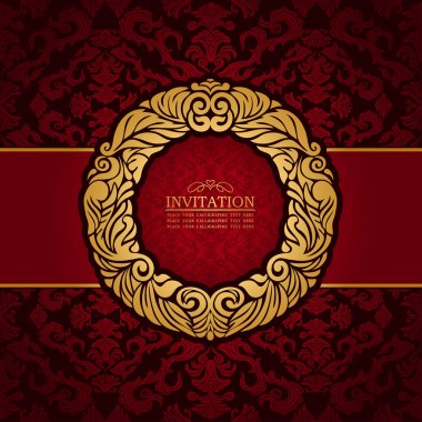 Abstract background with antique, luxury red and gold vintage frame, victorian banner, floral wallpaper, garland ornament, invitation card, baroque style booklet, fashion pattern, template for design