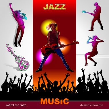 Background of music, set of musicians, singers, party and band silhouettes, ornament of art guitar; Jazz, Rock, Reggae, blues, country, Rock, Pop, Rap, Hip-Hop styles for design