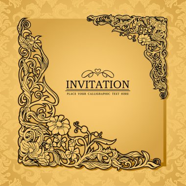 Abstract background with antique, luxury gold vintage frame, victorian banner, damask floral wallpaper ornament, invitation card, baroque style booklet, fashion pattern, paper page template for design