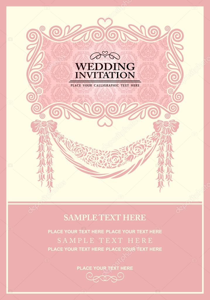 Wedding invitation card, abstract background, vintage frame and ...
