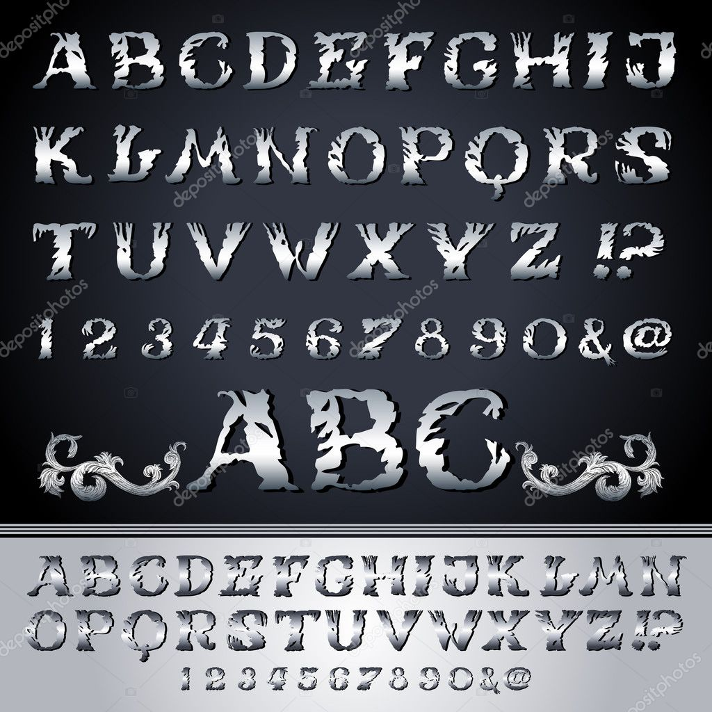 Antique Silver Patterns Part - 34: Abstract Alphabet Set On Background, Old Style, Antique, Metallic Fonts And  Numbers,