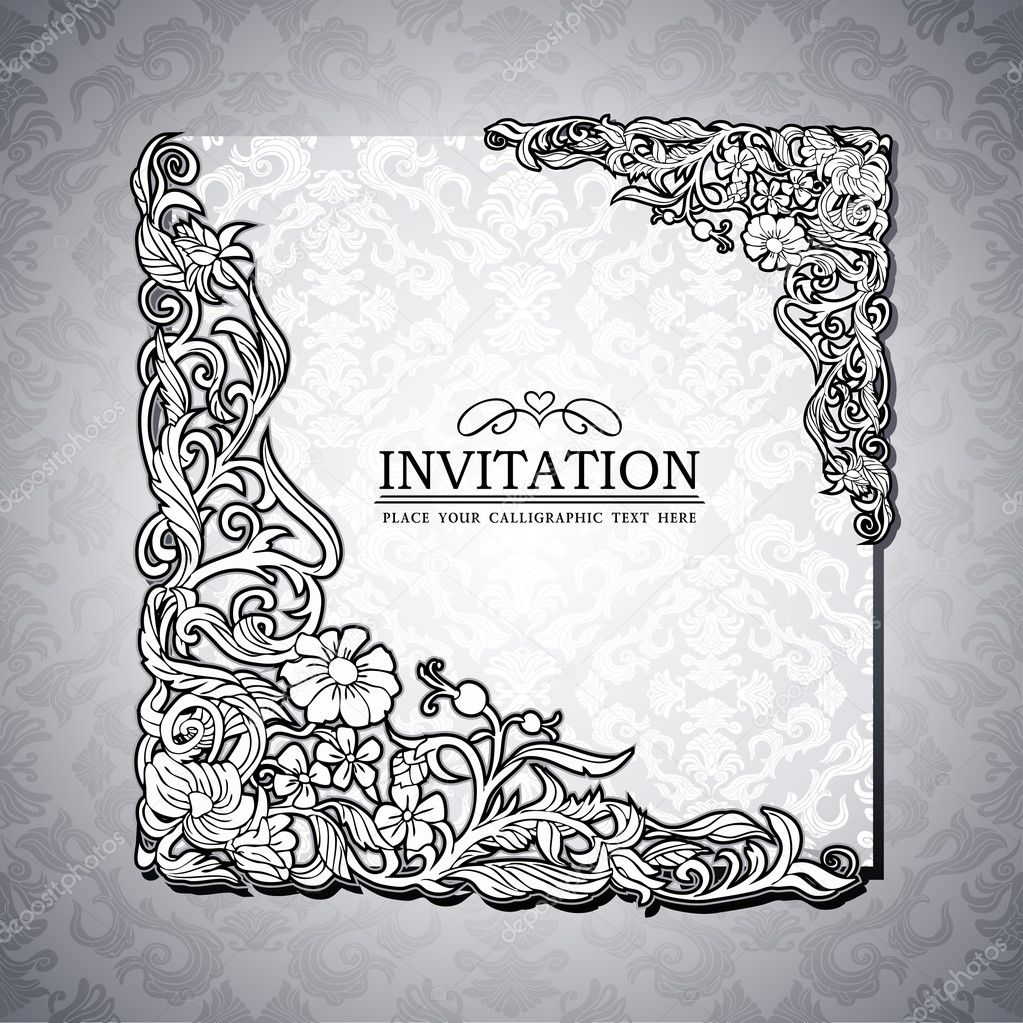 Abstract background with antique, luxury black and white vintage rich frame, banner, damask floral ornaments, invitation card, baroque style booklet, fashion pattern, paper page template for design