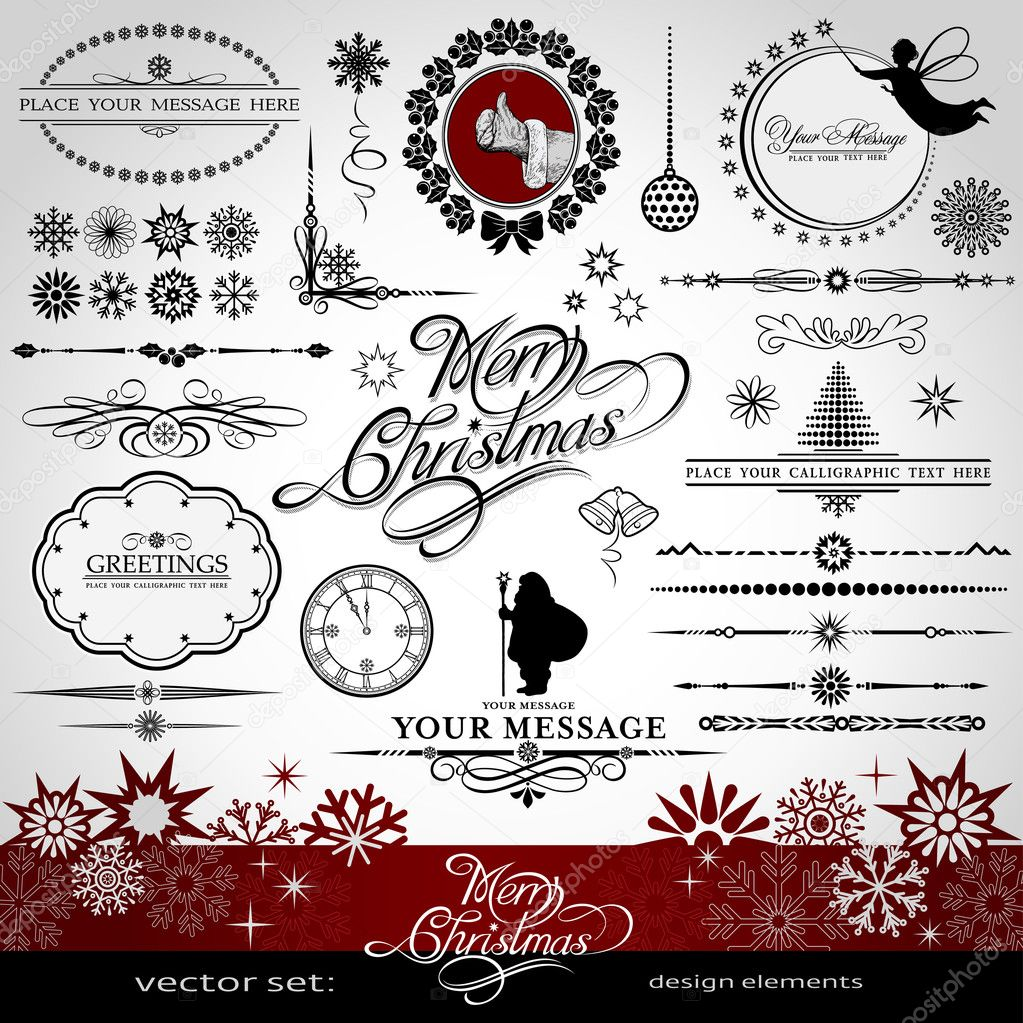 Christmas and New Year decorative vector set