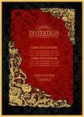 Abstrakte Hintergrund mit antiken, Luxus rot und gold Vintage Rahmen, viktorianischen Banner, Damast Floral Tapete Ornament, Einladungskarte, Barock-Stil-Broschüre, Mode-Muster, Vorlage für Design