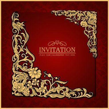 Abstract background with antique, luxury red vintage frame, victorian banner, damask floral wallpaper ornament, invitation card, baroque style booklet, fashion pattern, paper page template for design
