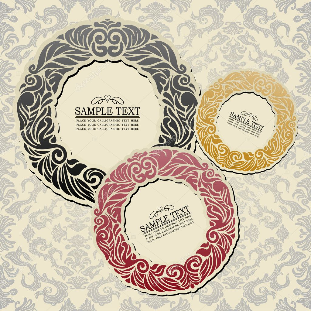 Abstract Background With Vintage Frames Old Style Banners Floral