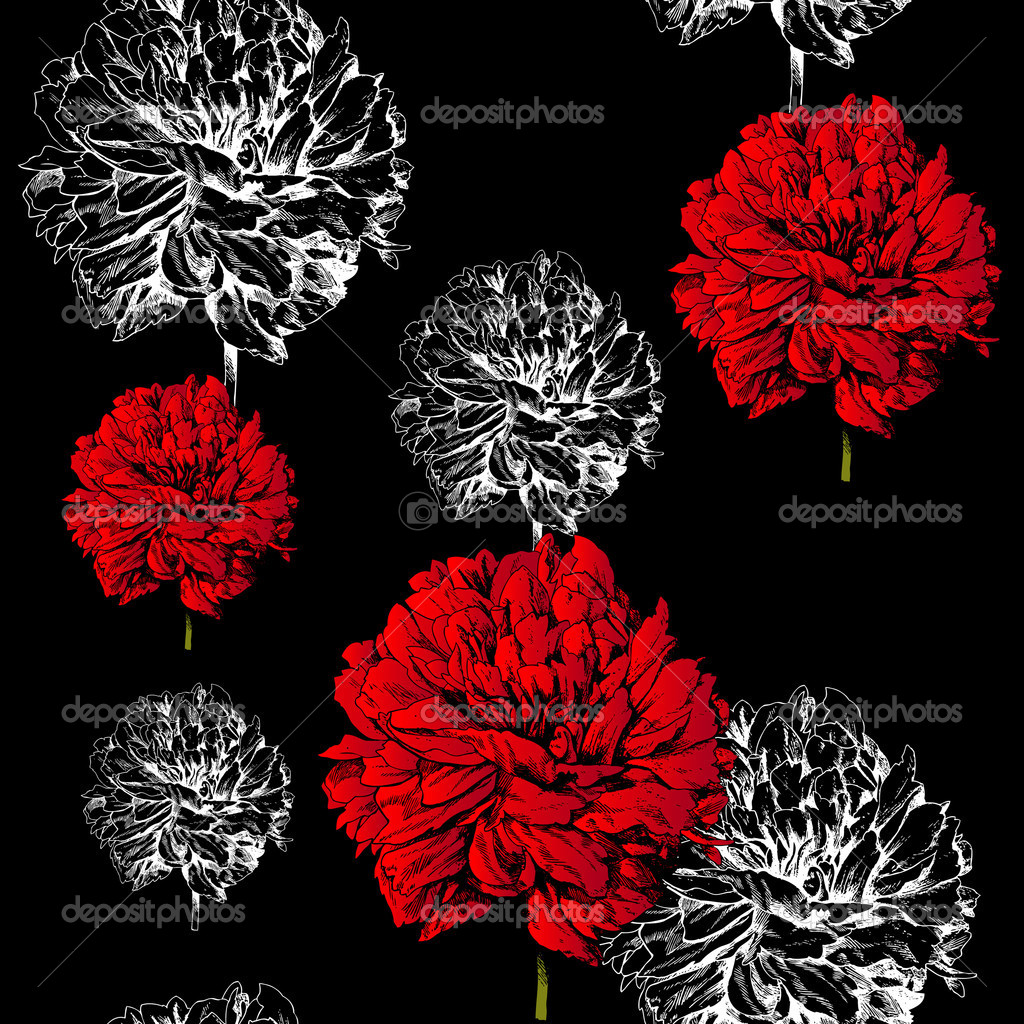 Abstract Floral Background Fashion Black Seamless Pattern Rich Vintage Art Wallpaper Retro Fabric With Graphic Beautiful Red Creative Flowers Summer Spring Theme For Decoration And Design Stock Photo C Meginn 12398681