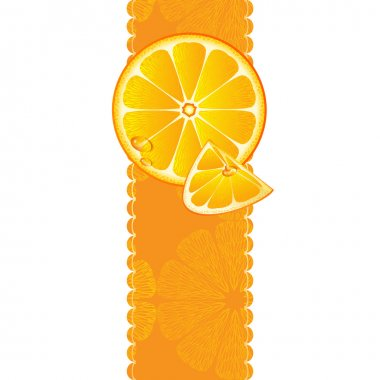 Vertical banner with juicy slices of orange fruit