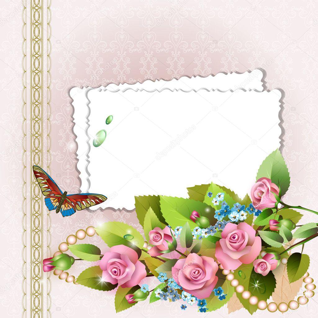 marco con rosas y perlas — Archivo Imágenes Vectoriales © Vericika ...