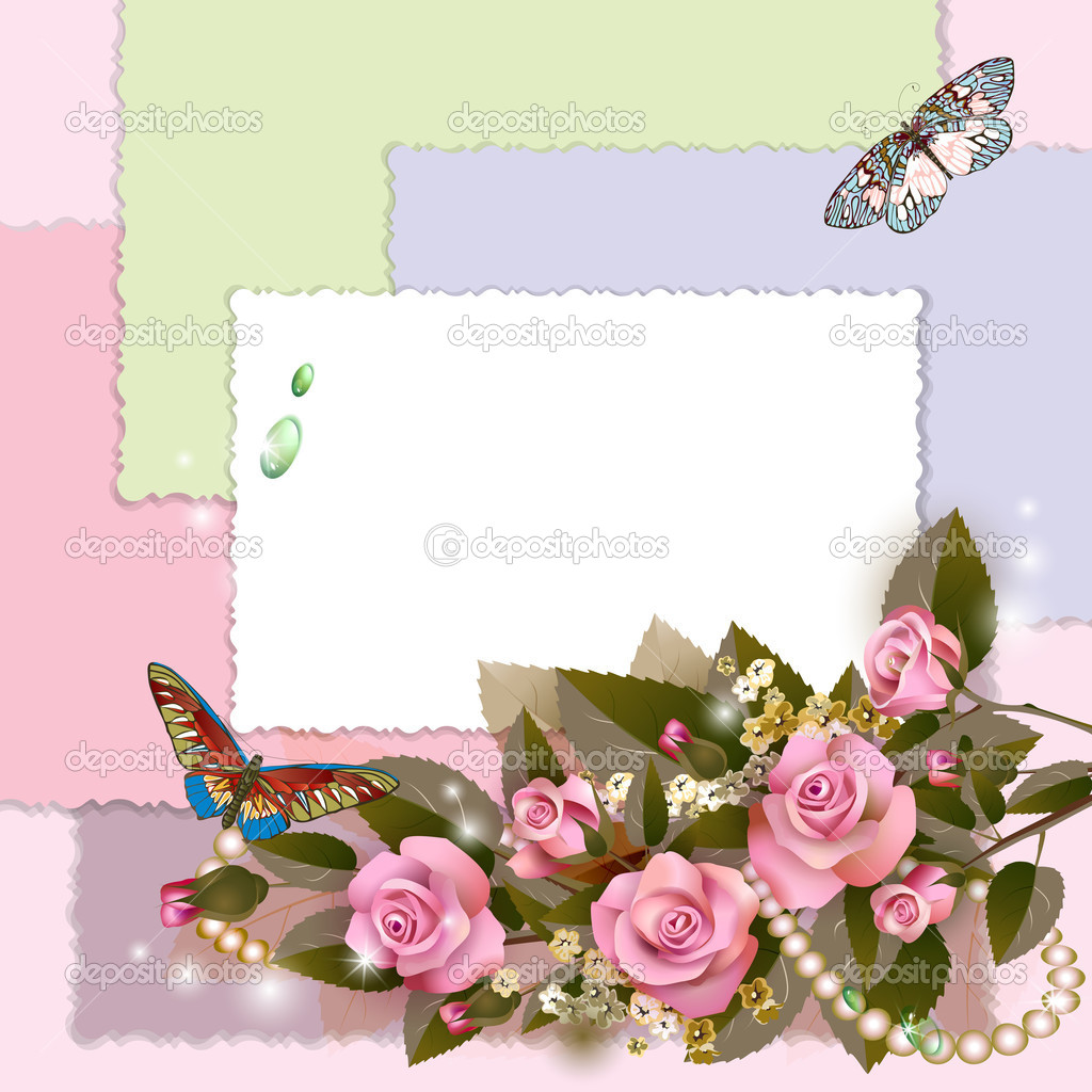marco con rosas y perlas — Vector de stock © Vericika #11816772