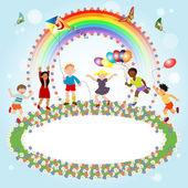 mnohonárodnostní děti a banner