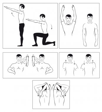 Vector set of physical exercises to relax the spine