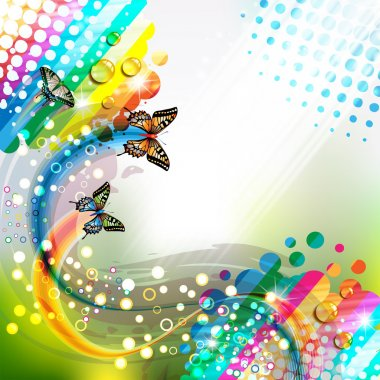 Colorful abstract background with butterflies clip art vector