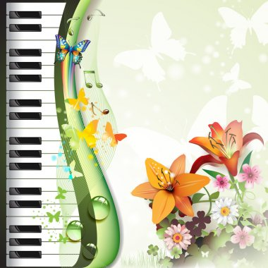 Piano keys with lilies