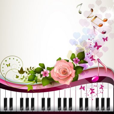 Piano keys with rose