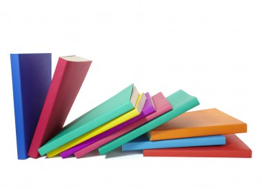 Close up of stack of colorful books on white background, with clipping path included stock vector