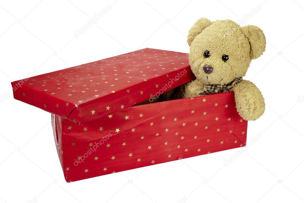Vorhanden Im Feld Teddybar Geburtstag Weihnachten Stockfoto