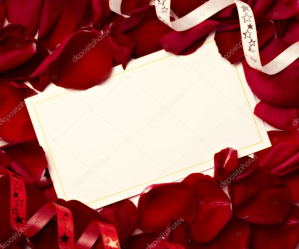 Greeting Card Note Rose Petals Celebration Christmas Love Stock