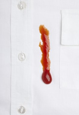 Ketchap stain white shirt accident