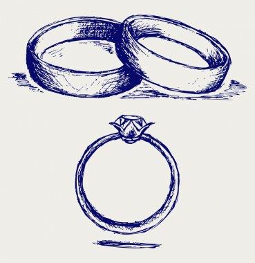 Sketch pencil illustration of  Wedding rings