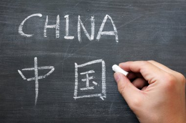 China - word written on a smudged blackboard with a Chinese version, with a hand holding chalk stock vector