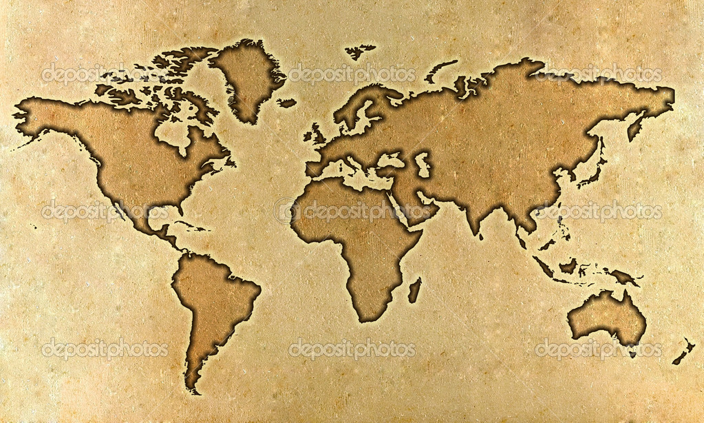 Carte Du Monde Parchemin carte du monde parchemin — photographie myper © #12289971