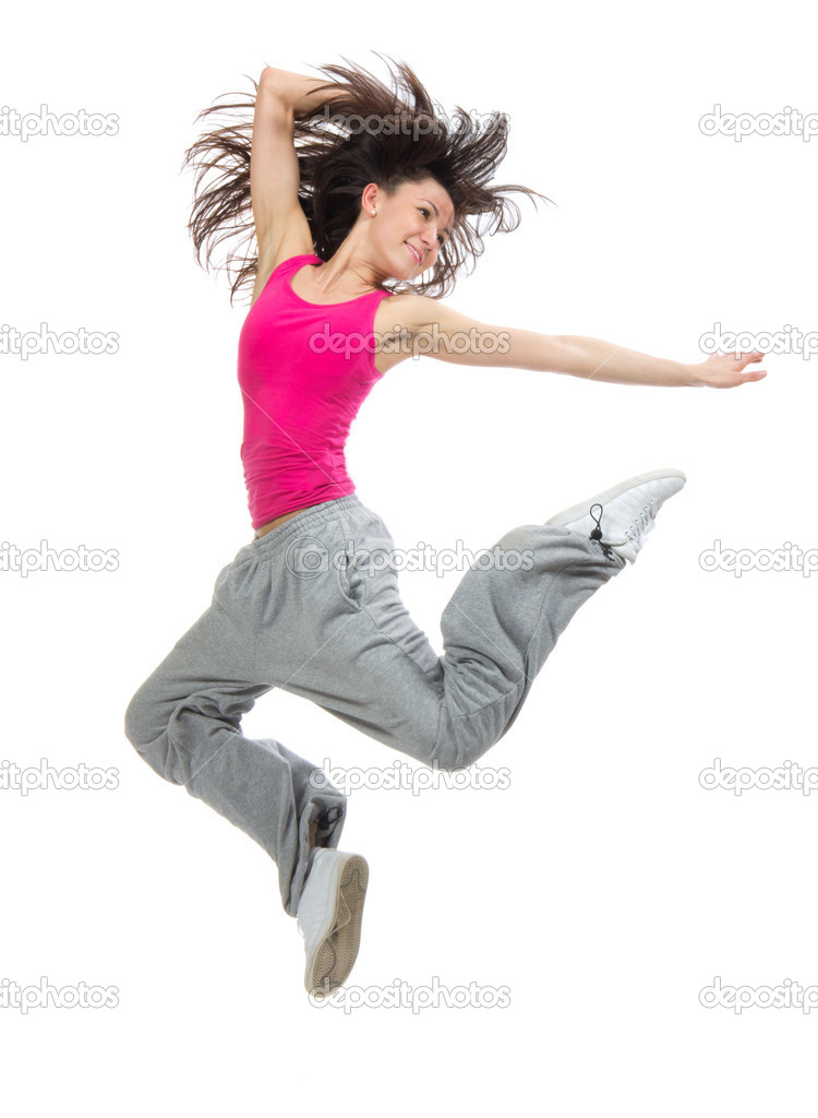 Modern slim hip-hop style teenage girl jumping dancing