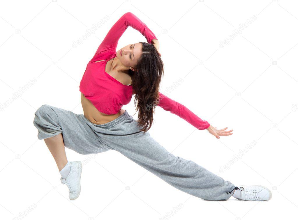 Modern dancer girl warming up, dancing, stretching