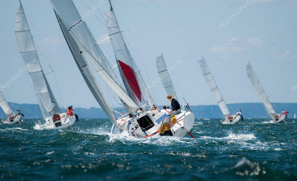 Gruppo di yacht a vela alla regata