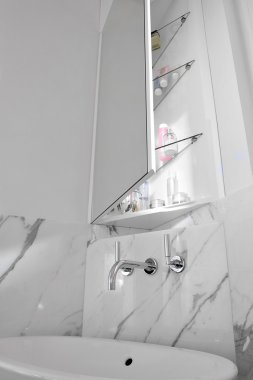 Detail of washbasin in the modern bathroom