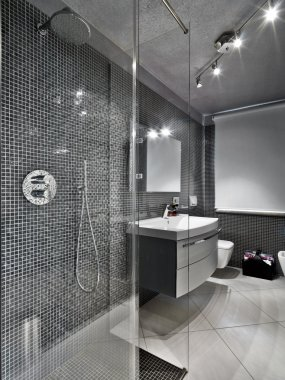 Modern bathroom with glass shower cubicle