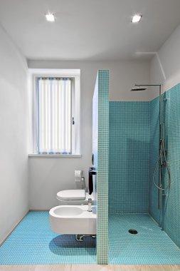 Masonry shower in a modern bathroom