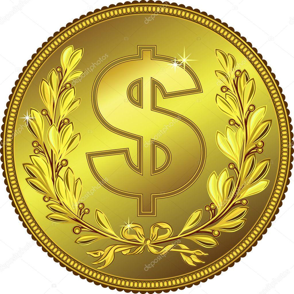 Vektor Gold Geld Dollar Münze Stockvektor Olgacov 11065650