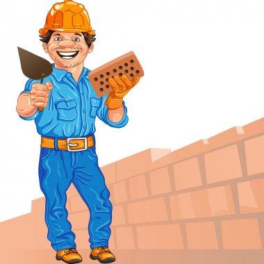 Vector cheerful bricklayer builder in the orange helmet with bri