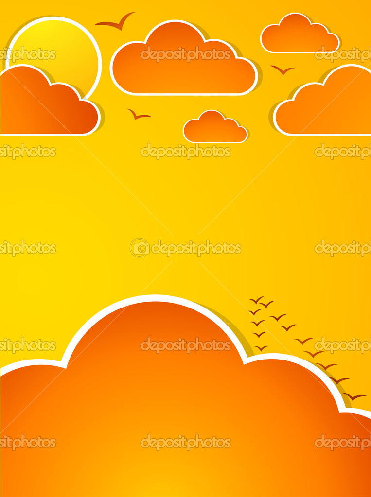 Abstract autumn sky with clouds and sun. Illustration