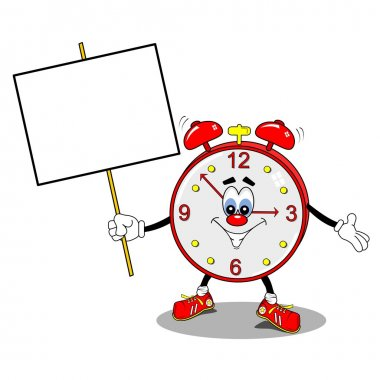 A cartoon alarm clock