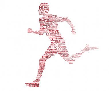 Typography runner - conception of sport and activity clip art vector