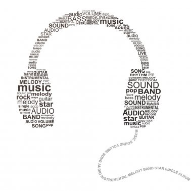 Typography headphones - music concept image stock vector