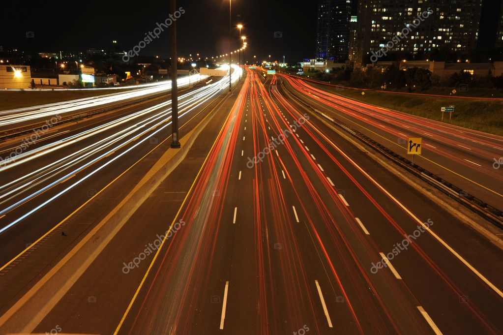Highway traffic at night time