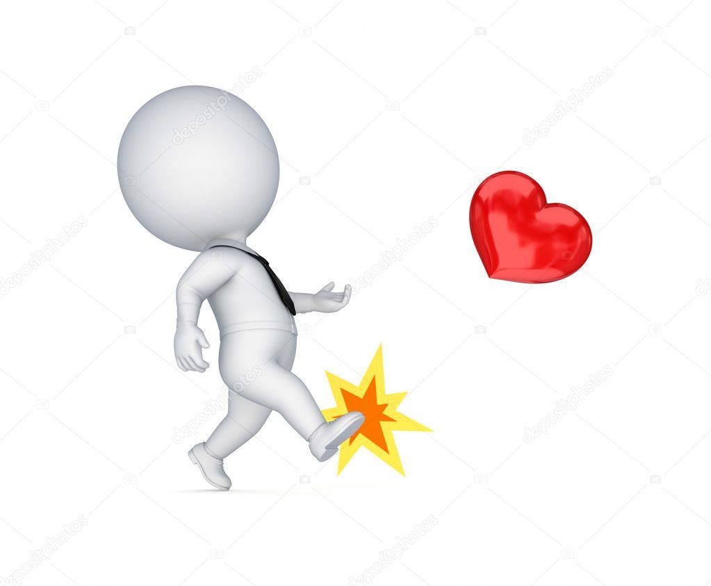 Persona Pequeña 3d Pateando Un Corazón Rojo Fotos De Stock