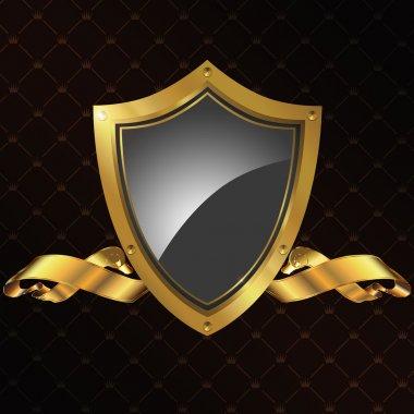 Golden shield and golden ribbon.