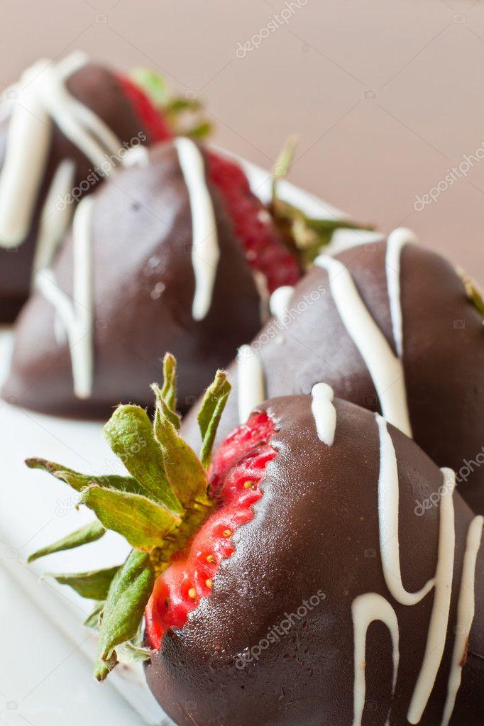 Chocolate covered strawberries closeup