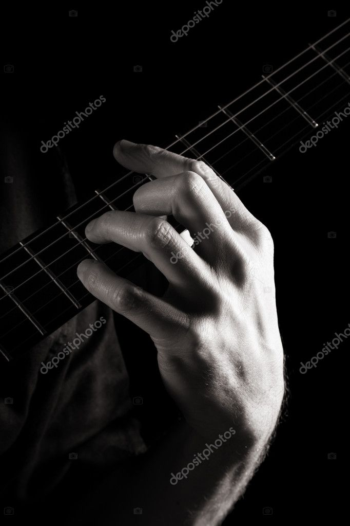 Minor Seventh Chord Dm7 On Electric Guitar Toned Monochrome Image