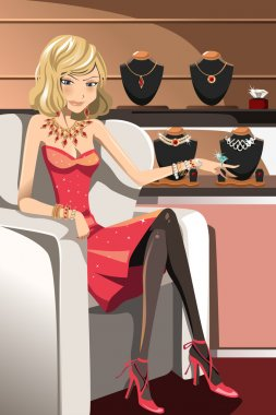 A vector illustration of a beautiful glamorous woman with her jewelries stock vector