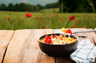 Cereal with milk and strawberries as outdoor shot