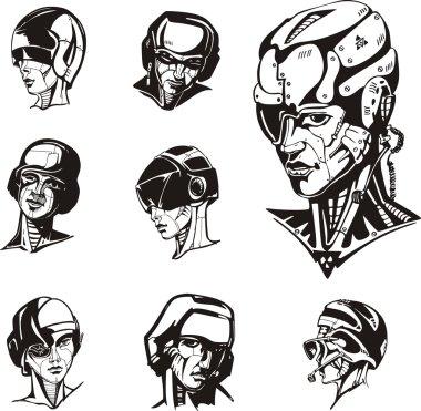 Heads of cyborg women