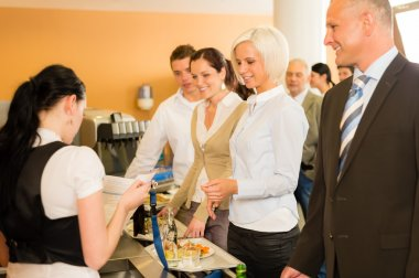Cafeteria cashier woman check guest list