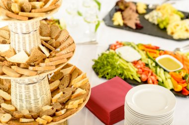 Catering buffet served food on banquet table
