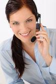 Fotografie zákazníkům služby žena volání operátor telefonního sluchátka